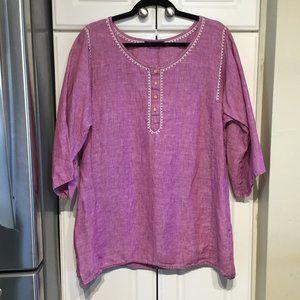 Eddie Bauer Violet/Pink Linen Tunic